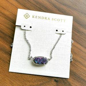 Elisa multicolor drusy silver necklace